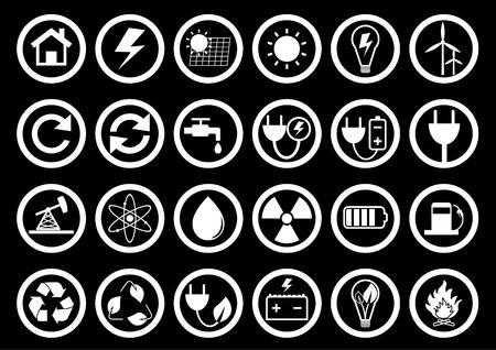 Conjunto de iconos de energía. Icono de energía en la colección de botones cuadrados en blanco y negro