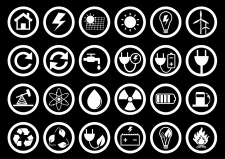 Energy icon set. Energy Icon on Square Black and White Button Collection