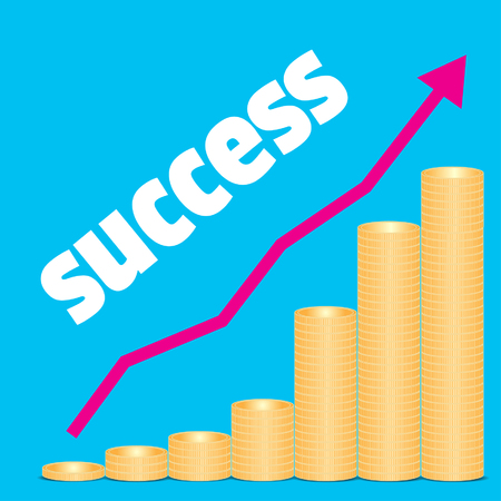 coin and arrow on concept success. coin bar chart.business success concept Çizim