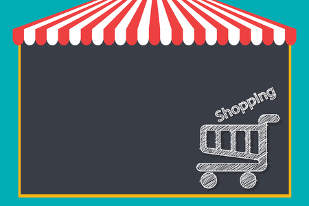 Shopping cart  in chalk on a blackboard vector white icon isolated. Illustration