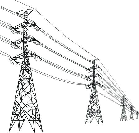 high voltage pole, Multiple high voltage towers. Vector Illustratie