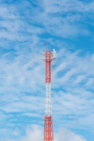 Antenna signal pole , Telecommunication pole distribute signal to rural area, Satellite tower. Stock Photo