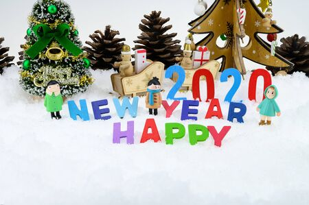 Merry christmas and happy new year greeting card with copy-space. Festive Christmas background Stok Fotoğraf