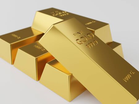 A lot of gold bars stacked on white background. Many bullions closeup. 3d generated image. Financial concepts. many gold bars. Macro view of stacks of gold bars.