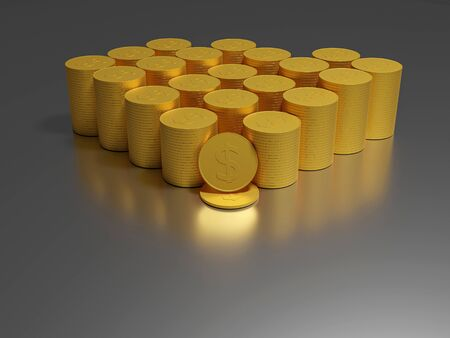 Coin. Gold coins cash money in piles, Gold coins with increase, Saving money and loan for prepare in the future. Banque d'images