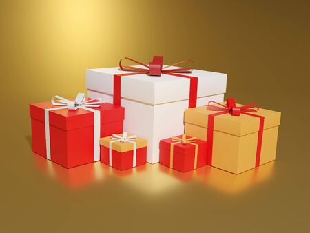Big pile of colorful wrapped gift boxes. Lots of presents, 3D rendering. Lots of holiday presents.
