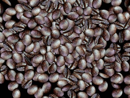 Coffee beans over a dark background, 3D rendering with coffee beans. Coffee background.