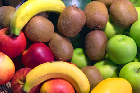 Fruit background, many fresh fruits mixed together, Background from many different exotic fruits 免版税图像
