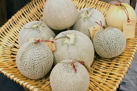 Fresh ripe melons or Cantaloupe melons sell in the market with blurred background. Cantaloupe melons background.  Banque d'images