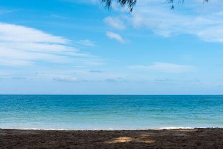 Summer beach paradise. Tropical island beach. Sea shore line. Island relax landscape travel concept