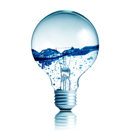 innovation technology: energy concept. light bulb with water in side isolated on white