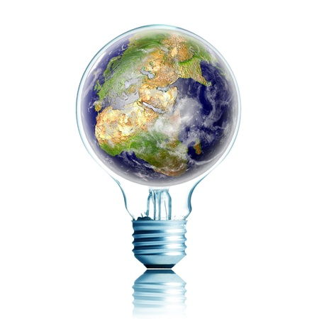 consumption: energy concept. light bulb with globe in side