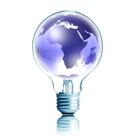 overuse: technology concept. light bulb with blue digital globe Stock Photo