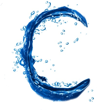 Alphabet letter made from water splash. Letter C photo