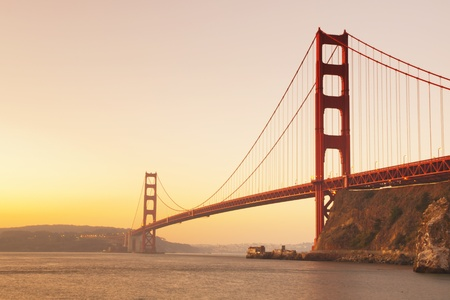san francisco bay: Golden Gate bridge at sunrise. San Francisco, USA. Stock Photo