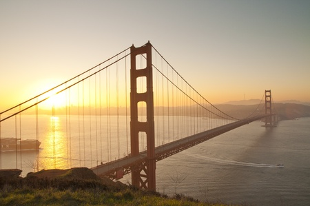 Golden Gate bridge at sunrise. San Francisco, USA. photo
