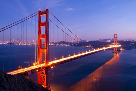 san francisco bay: Golden Gate bridge at twilight. San Francisco, USA.
