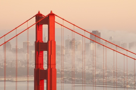 san francisco bay: Golden Gate bridge with fog. San Francisco, USA.