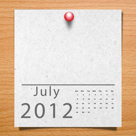Calendar 2012 Paper on wood background with natural pattern  Month July Stock Photo - 12937100