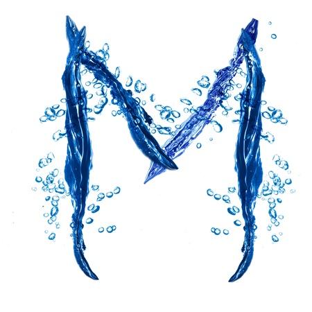 Alphabet letter made from water splash. Letter M photo