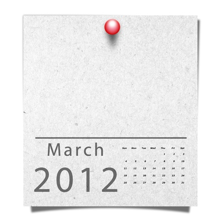 Calendar of Year 2012 on Recycle Paper with red pin  Month March Stock Photo - 12936200