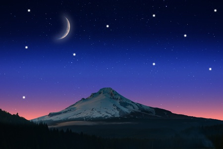 View of Starry night at twilight with the view of a mountain. photo
