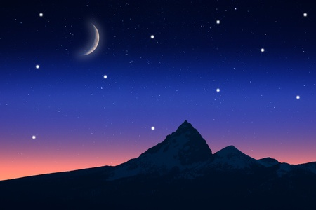 starlit sky: View of Starry night at twilight with the view of a mountain.