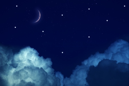 Starry Sky with Moon and clouds photo