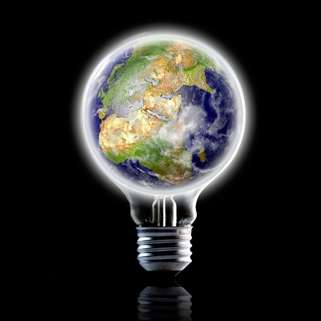 globe in light bulb  Concept for energy conservation and environmental care  Data source  NASA photo