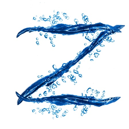 Alphabet letter made from water splash. Letter Z photo