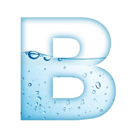 물과 거품 편지 B에서 만든 알파벳 편지