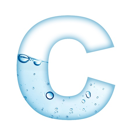 Alphabet letter made from water and bubble  Letter C Stock Photo