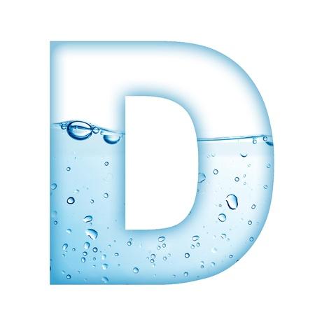 carta de agua liquida: Letra del alfabeto a partir de agua y la burbuja de Carta D