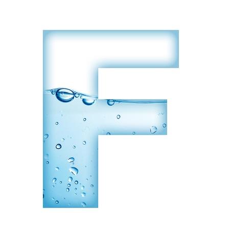 letter liquid water: Letra del alfabeto a partir de agua y burbujas Letra F