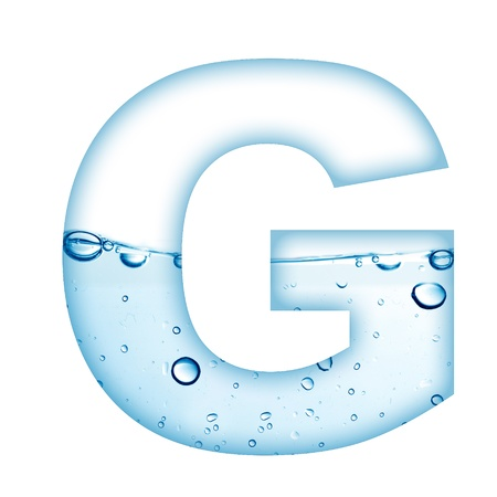 물과 거품 편지 G에서 만든 알파벳의 편지 스톡 사진