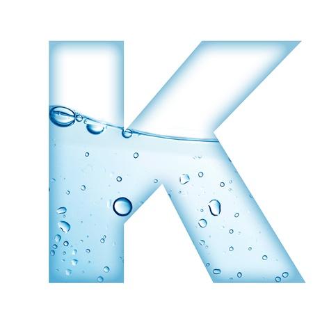 letter liquid water: Letra del alfabeto a partir de agua y K Carta de la burbuja