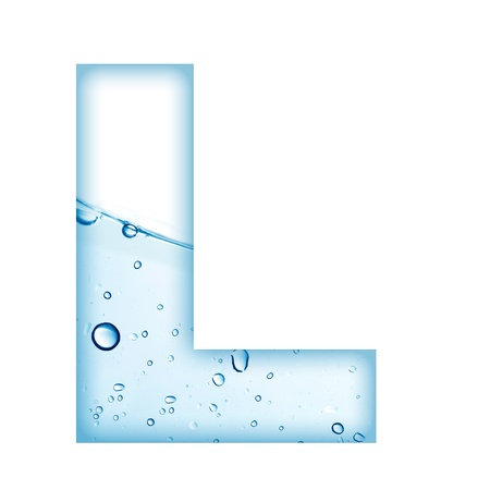 Alphabet letter made from water and bubble  Letter L photo