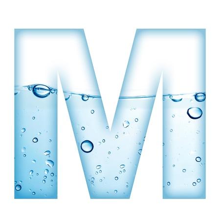 agua liquida carta: Letra del alfabeto a partir de agua y la burbuja de Carta M