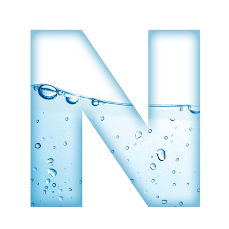 Alphabet letter made from water and bubble  Letter N Stock Photo - 12936510