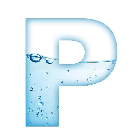 letter liquid water: Letra del alfabeto a partir de agua y P Carta de la burbuja