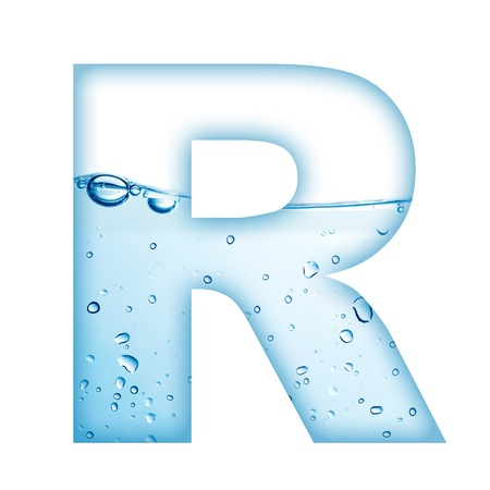 letter alphabet: Alphabet letter made from water and bubble  Letter R Stock Photo