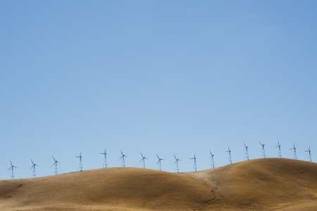 Wind turbines farm on mountain in California, USA Stock Photo - 12936246