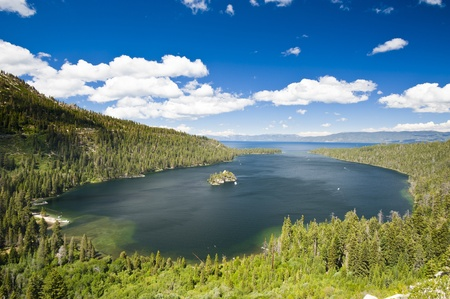 Emerald Bay with beautiful cloudy sky and green tree in the foreground, South Lake Tahoe, California, USA Stock Photo - 12939988
