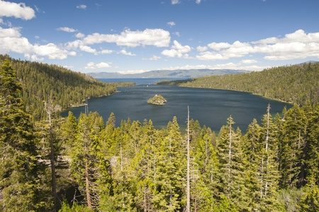Emerald Bay with beautiful cloudy sky and green tree in the foreground, South Lake Tahoe, California, USA Stock Photo - 12940012