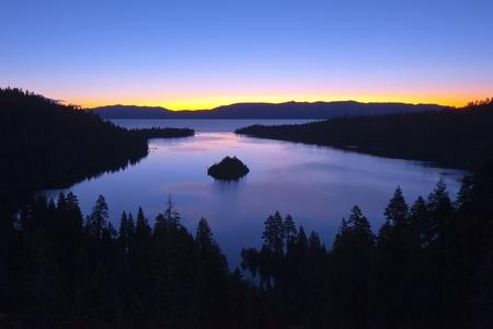 south lake tahoe: Emerald Bay after sunset, South Lake Tahoe, California, USA