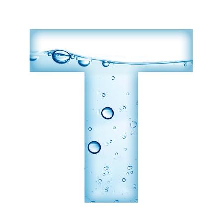 물과 거품 편지 T 만든 알파벳의 편지