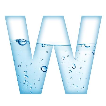 agua liquida carta: Letra del alfabeto a partir de agua y la burbuja de Carta W