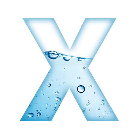 made of water: Alphabet letter made from water and bubble  Letter X