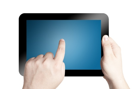 Hand holding and pointing on touch screen digital tablet isolate on white background Stock Photo - 12940027