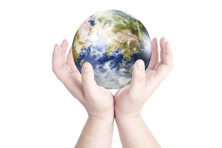 Man s hands holding on globe isolated on white background  Concept for environmental protection from global warming  Data source  Nasa photo
